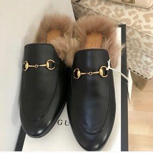 Gucci Princeton Fur Leather Mules